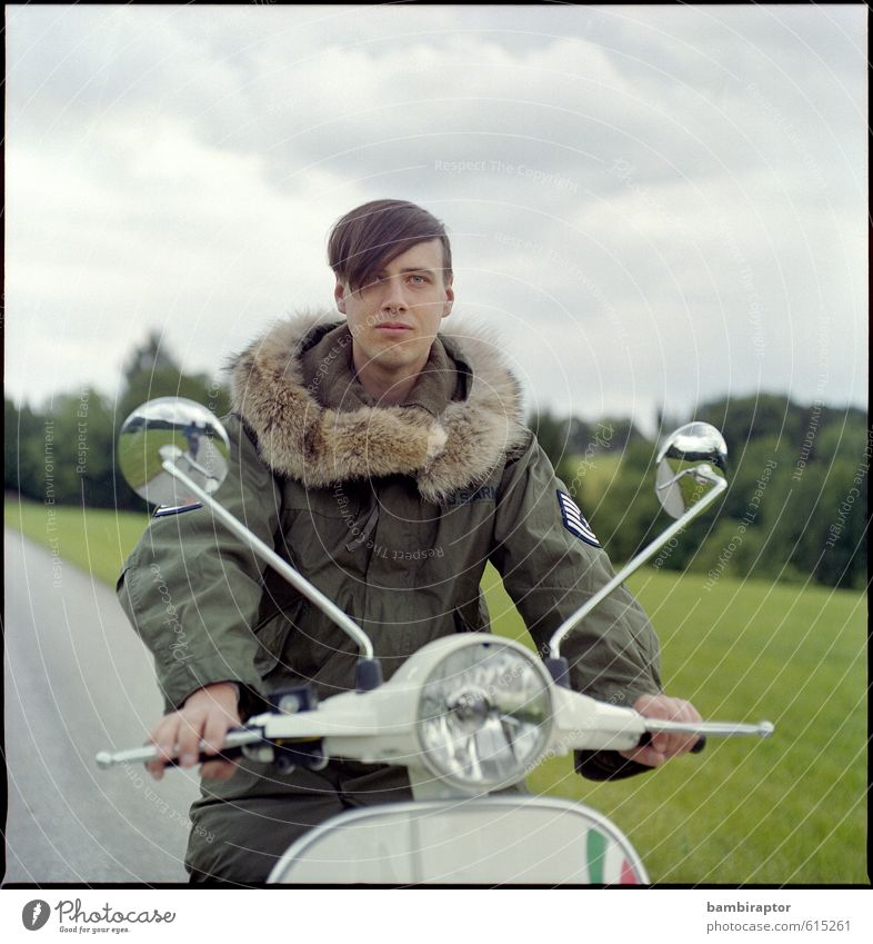Human being Youth (Young adults) 18 - 30 years Young man Adults Style Masculine Lifestyle Cool (slang) Driving Pelt Jacket Vehicle Analog Vintage Scooter