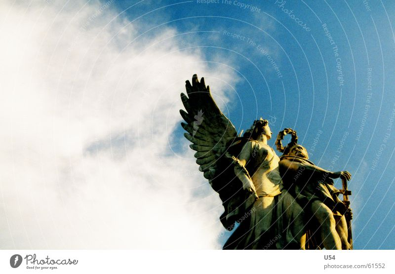 close to heaven. Clouds Statue Sculptor Wreath Sky Angel Wing Stone Flying