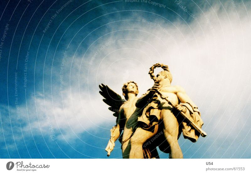 closer to heaven. Clouds Statue Sky Blue Angel Wing