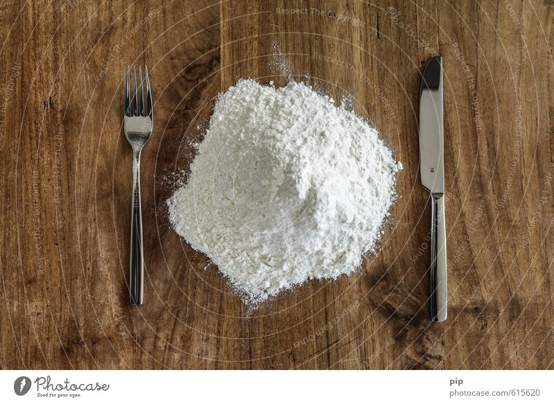 pastry Flour Knives Fork Table Wood Exceptional Brown White Nutrition Food photograph white flour Heap Set meal Cutlery Abstract Raw Powder Intoxicant