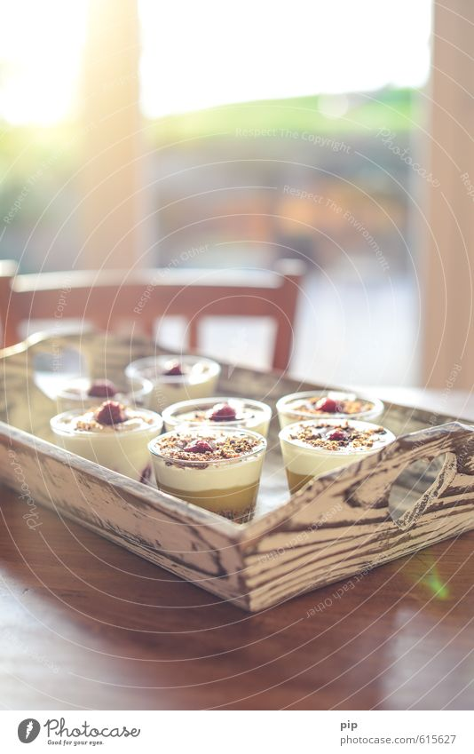 food for dietetic price takers Dessert Candy Pudding Cream Tray Table Window Wood Eating Fresh Bright Sweet Contentment Living or residing Part Bowl Sugar