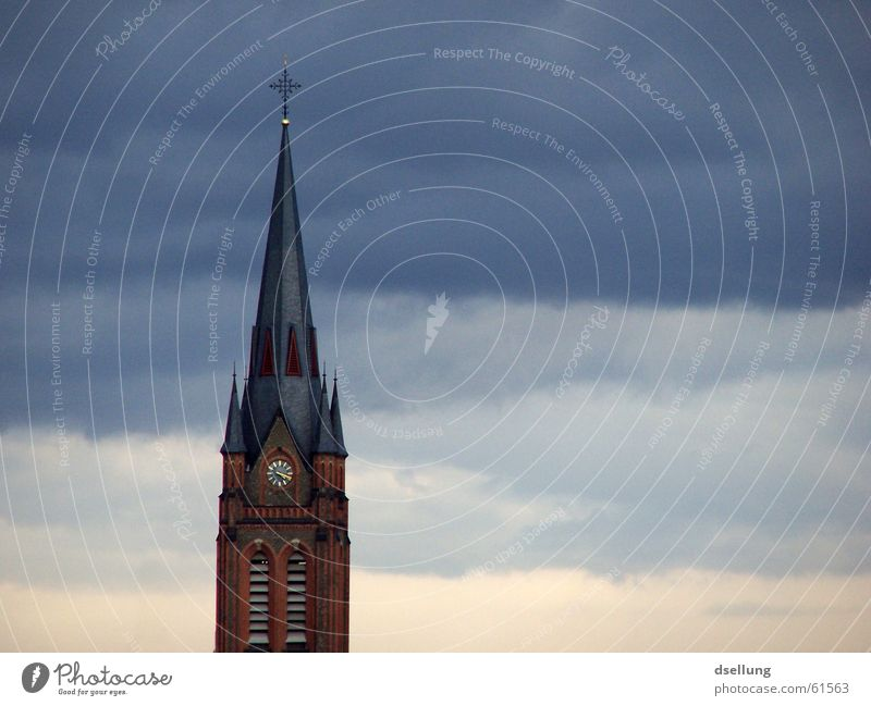 Church tower with layered clouds Colour photo Exterior shot Deserted Copy Space right Evening Central perspective Happy Clock Funeral service Sky Clouds