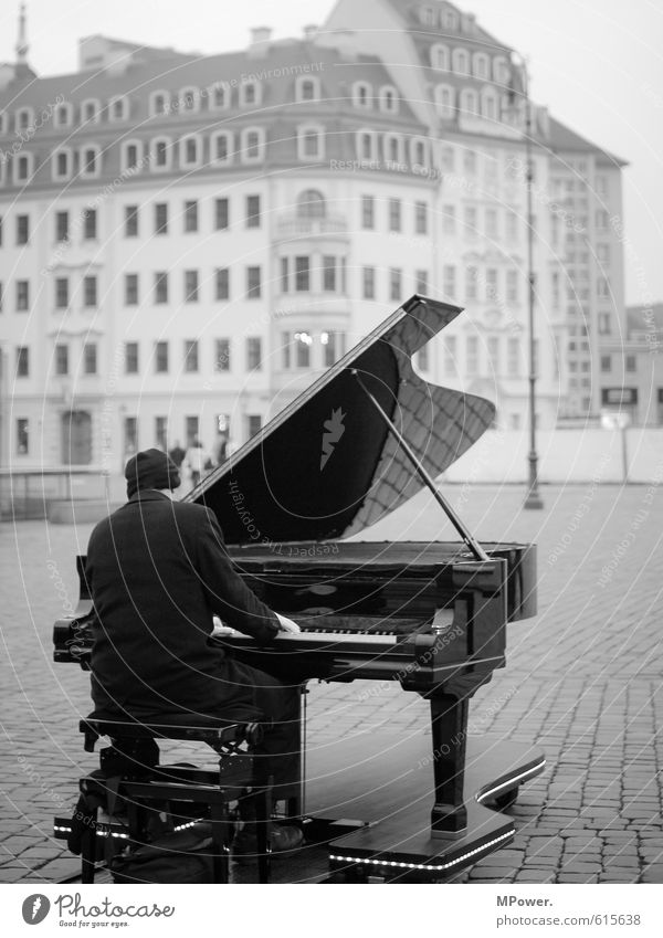 Human being Man Loneliness House (Residential Structure) Cold Adults Playing Body Music Sit Places Cap Downtown Concert Grand piano Dresden