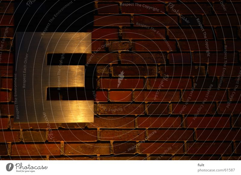 e Letters (alphabet) Wall (barrier) Brick Wall (building) Night Style Metal Lighting Shadow