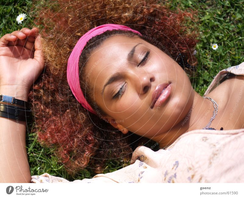 Woman Black Eyes Dream Brown Sleep Lips Curl Brunette Cuba Siesta Break Mouth African-American