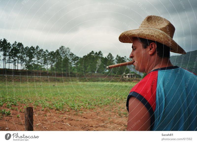 Man Blue Red Smoking Smoke Hat Cuba Cigar Havana Macho Valle de Viñales