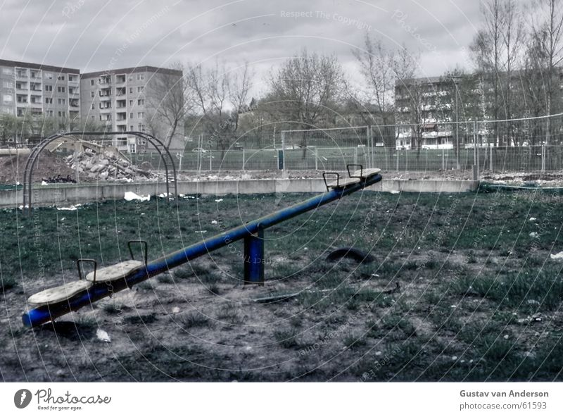 Played out Playground House (Residential Structure) Block Grief Tree Seesaw Clouds Horror End Sky Fear