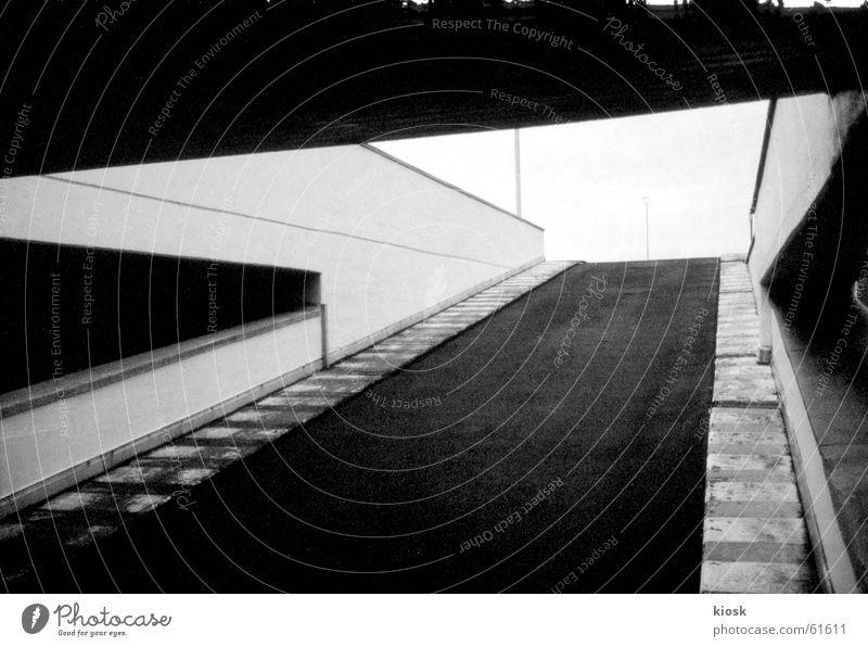parking level no.2 Parking garage Wall (barrier) Diagonal Black & white photo polapan Illustration Empty