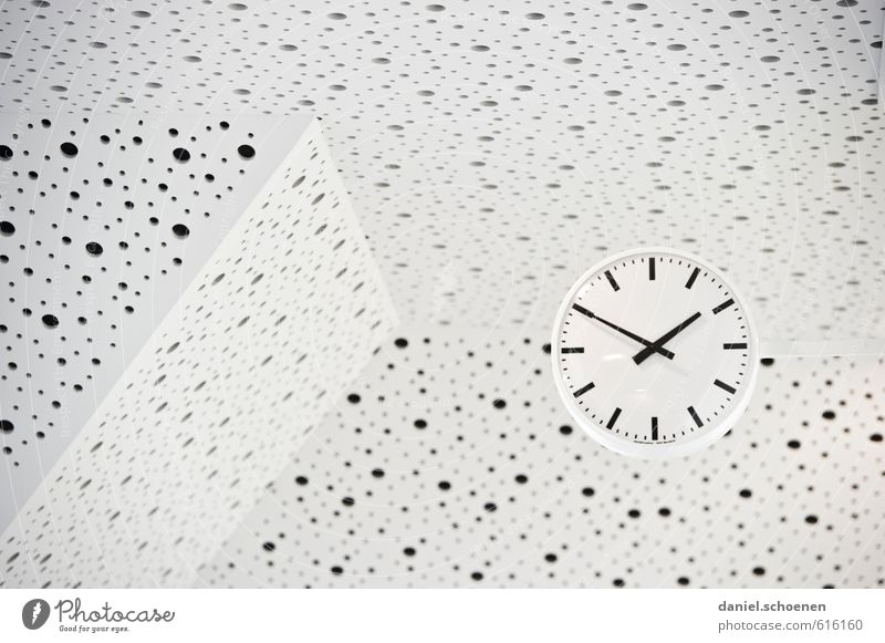 dotted time Clock Bright Black White Design Time Subdued colour Interior shot Deserted Contrast High-key