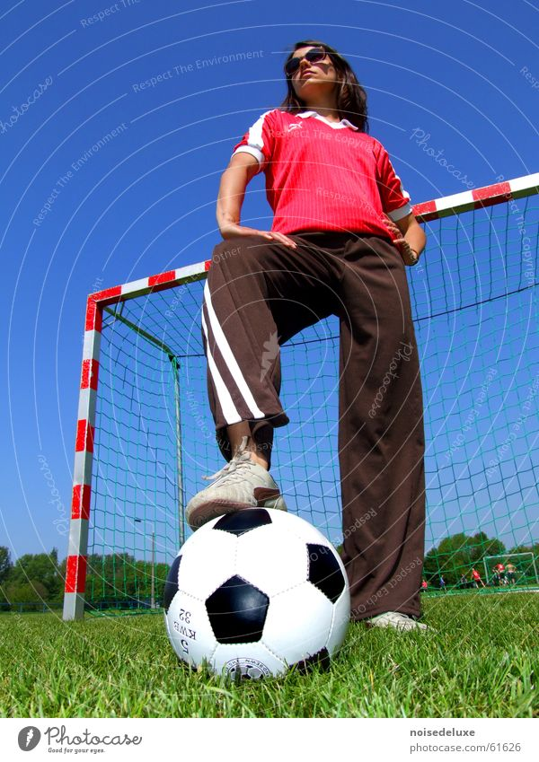 football heroine Woman Grass Soccer Gate Lawn Ball