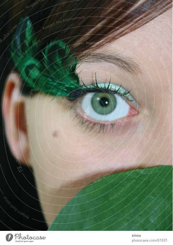 greeneyed girl Green Eyes Feather Face