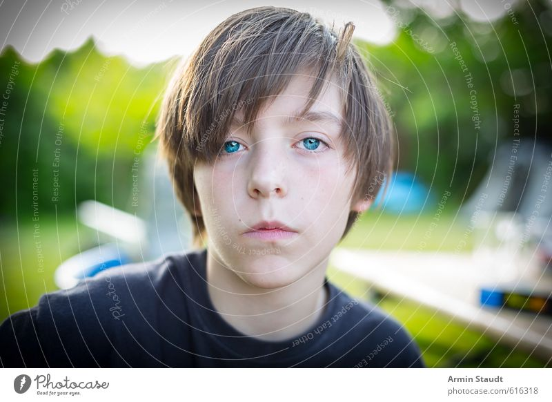 Human being Child Nature Youth (Young adults) Blue Green Summer Calm Garden Moody Masculine Sit 13 - 18 years Authentic Simple Uniqueness