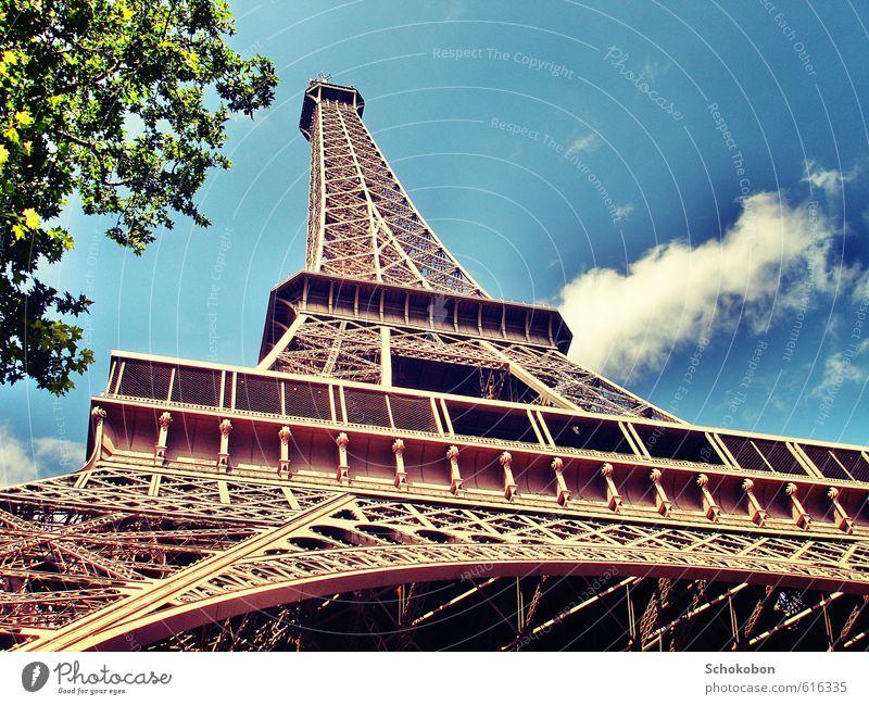 Paris Architecture Beautiful weather Town Manmade structures Tourist Attraction Landmark Monument Eiffel Tower Metal Steel Love Dream Esthetic Gigantic Historic