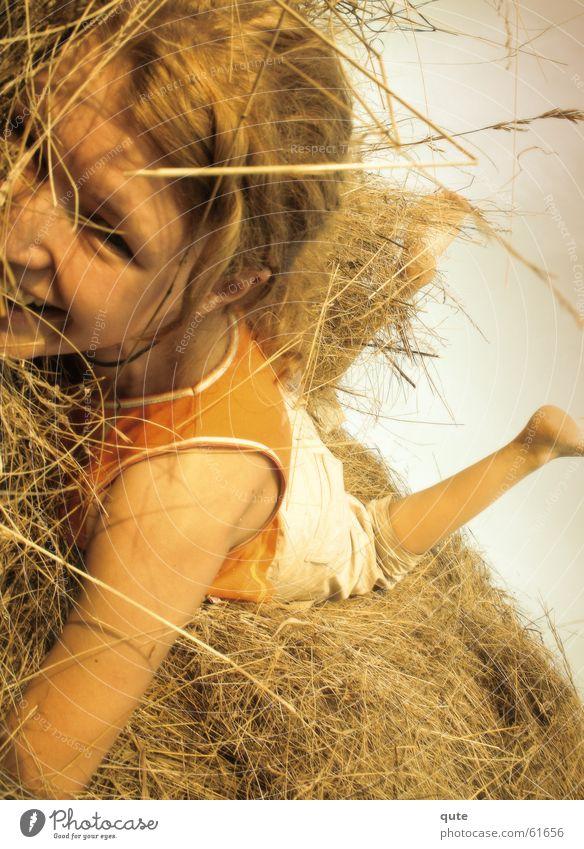 Untitled Girl Grinning Summer fun grass hay joy