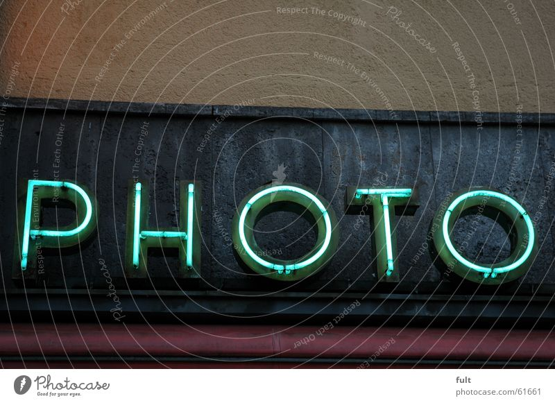 photo Photography Fluorescent Lights Neon light Letters (alphabet) Yellow Photo shop House (Residential Structure) Building Wall (building) Retro Advertising