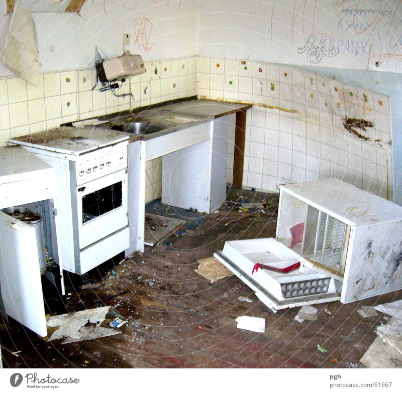 Dirty Kitchen Trash Tile Shabby Harmful Building for demolition