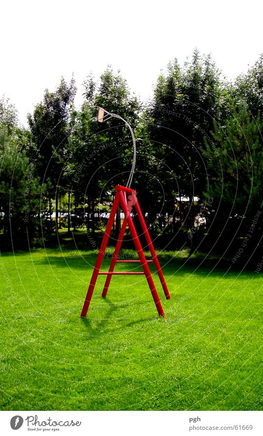 Swing that won't come back Red Meadow Green Tree Work of art