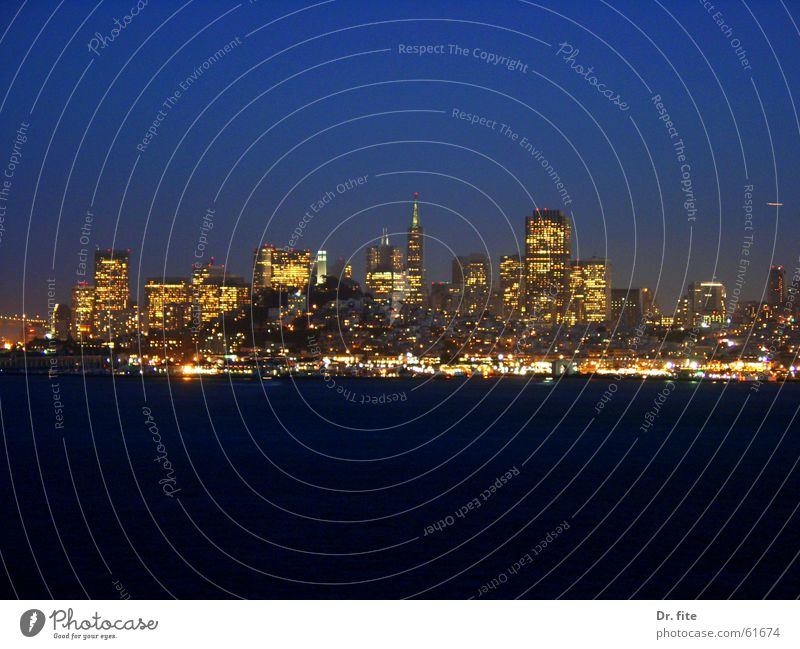 If you're going to San Francisco.. California Ocean Dark Night High-rise Alcatraz USA Water Sky Blue Skyline Light Evening