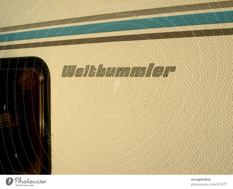 globetrotter Caravan Mobile home Camping Brown Window Stripe Yellow Pattern Vacation & Travel more cosmopolitan blue