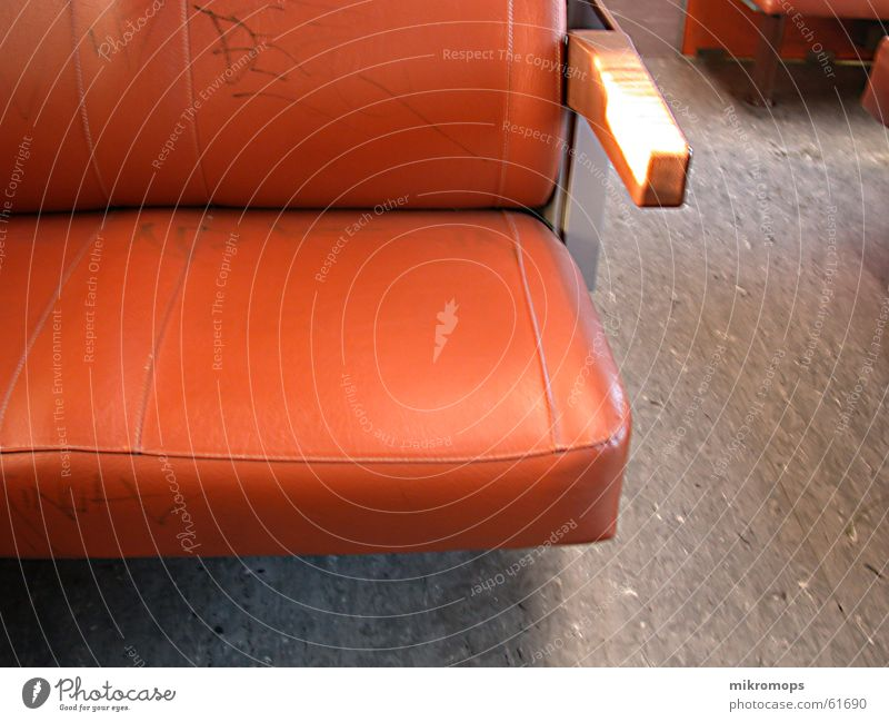 railway Underground Driving Armchair Linoleum Loneliness Interior shot Orange Seating Backrest