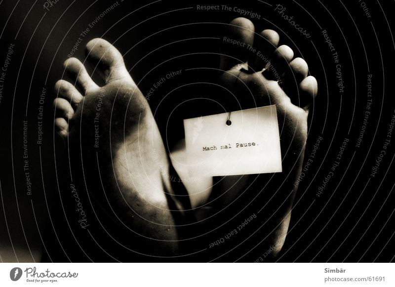Woman Adults Death Feet Dirty Signs and labeling Lie Break Piece of paper Musical notes Toes Black & white photo