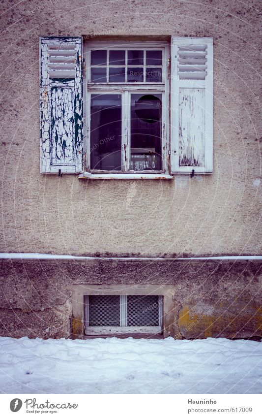City House (Residential Structure) Winter Cold Window Wall (building) Sadness Snow Building Architecture Wall (barrier) Gray Wood Stone Facade Gloomy