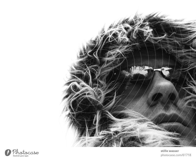 FROSTY Physics Soft Eyeglasses Reflection Nasal hair Nostril Black White Cold Loneliness Portrait photograph Exterior shot Adventurer Alaska North Pole