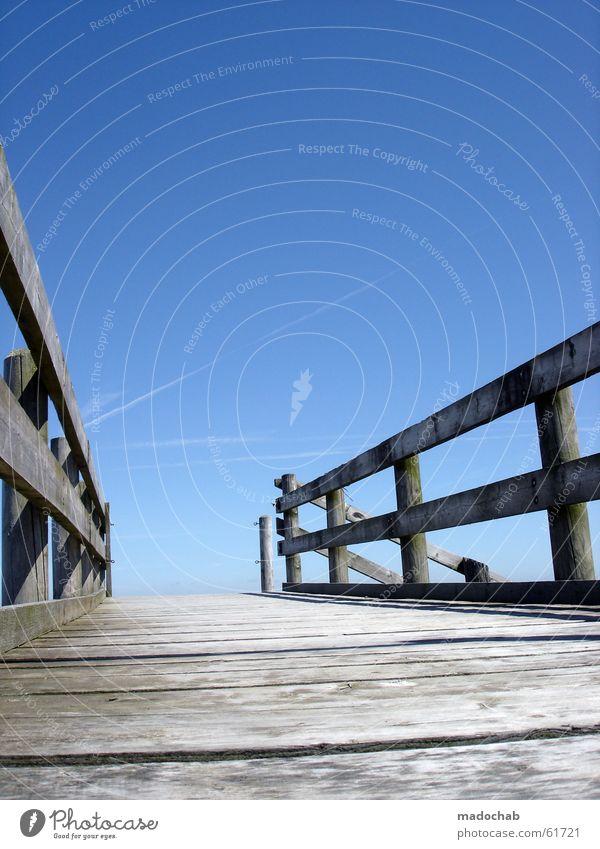 Sky Old Blue Water Ocean Life Architecture Lanes & trails Death Watercraft Horizon Empty Bridge Hope Grief Target