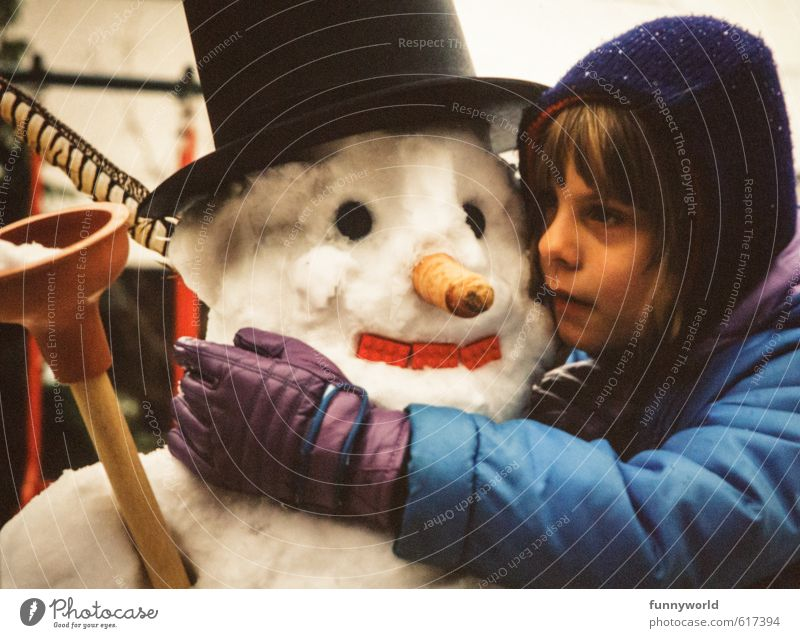 snowman love Child Girl Infancy 8 - 13 years Ice Frost Snow Touch To hold on Looking Dream Sadness Embrace Together Cold Cute Retro To console Relationship