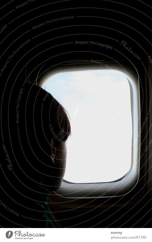 Vacation & Travel Dark Window Head Airplane Aviation Vantage point Ear Return