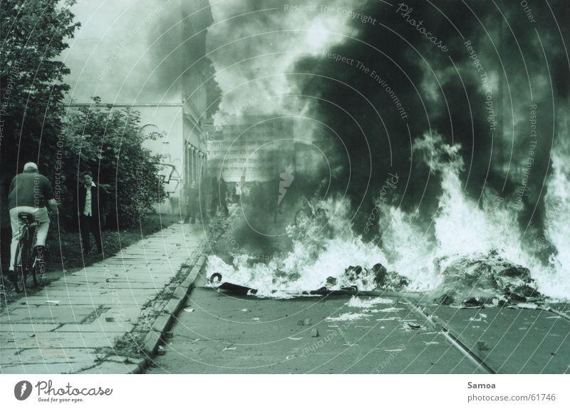 Street Bicycle Blaze Smoke Leipzig Flame Protest Resist Barricade