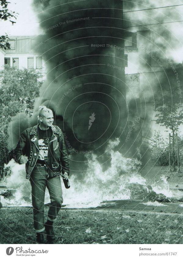 Joy Street Laughter Blaze Beer Smoke Grinning Leipzig Punk Flame Demonstration Protest Resist Saxony Leather jacket Barricade