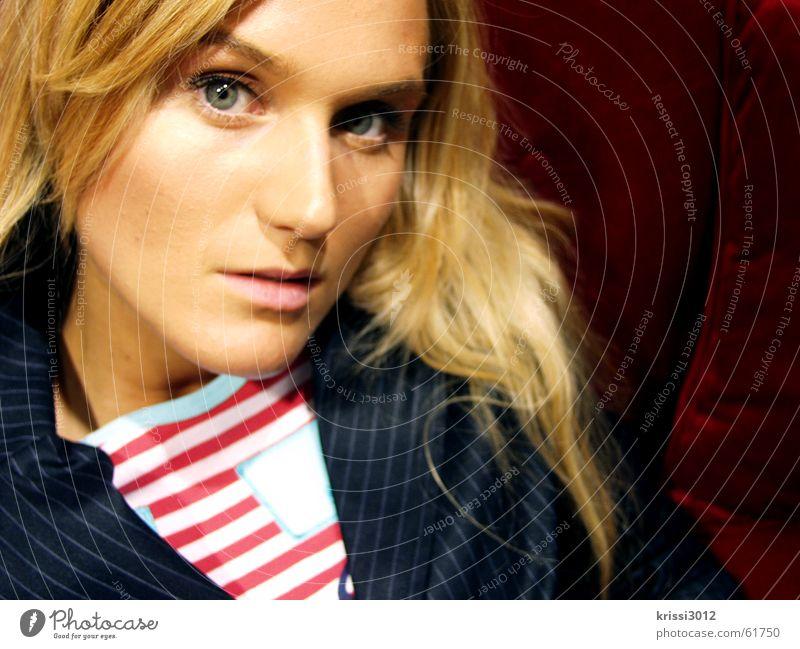 Woman Beautiful Red Eyes Brown Skin Blonde Gold Clothing T-shirt Sofa Jacket Noble Striped Princess
