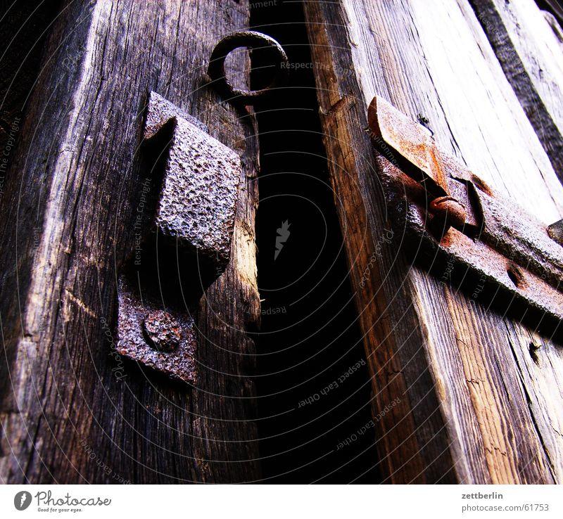Dark Garden Door Closed Open Mysterious Creepy Castle Rust Key Barrier Barn Column Frightening Watering can Padlock