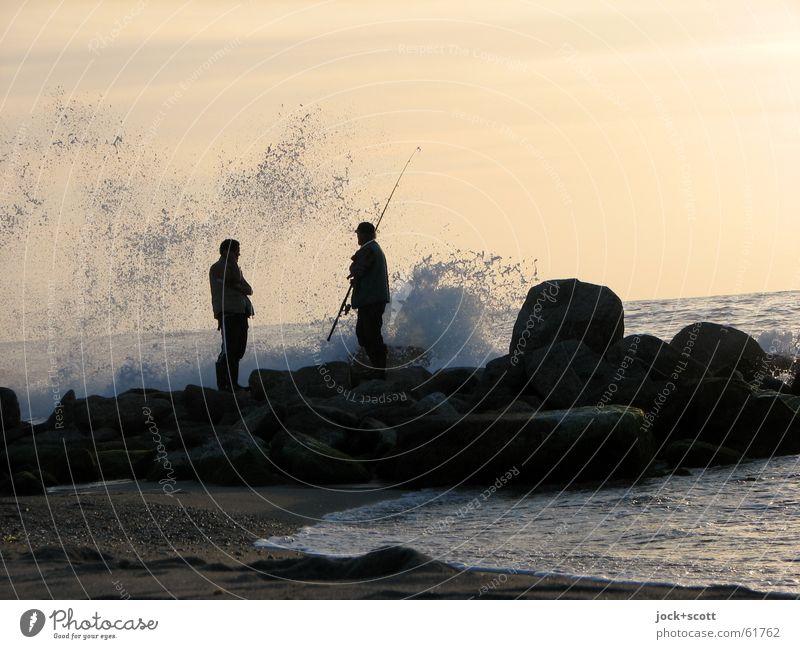 Human being Man Water Relaxation Ocean Calm Joy Beach Adults Coast Stone Sand Rock Horizon Friendship Idyll