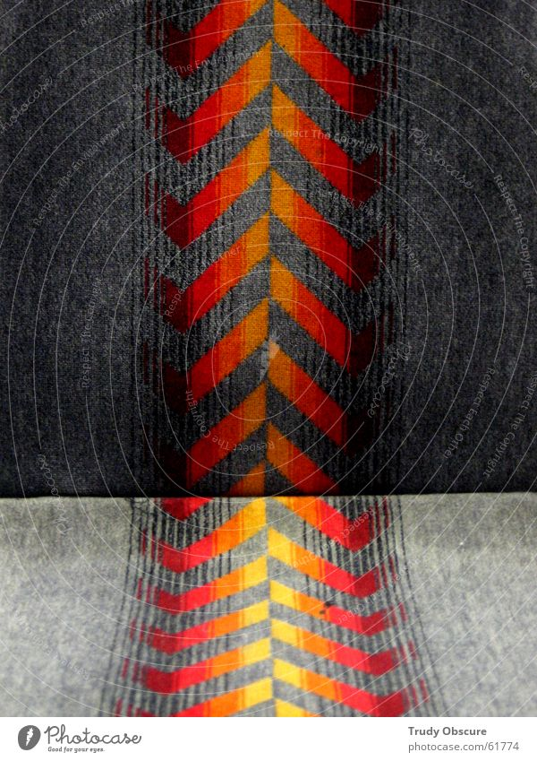 Red Yellow Gray Orange Railroad Places Chair Cloth Underground Seating Seventies Motive Original Vintage
