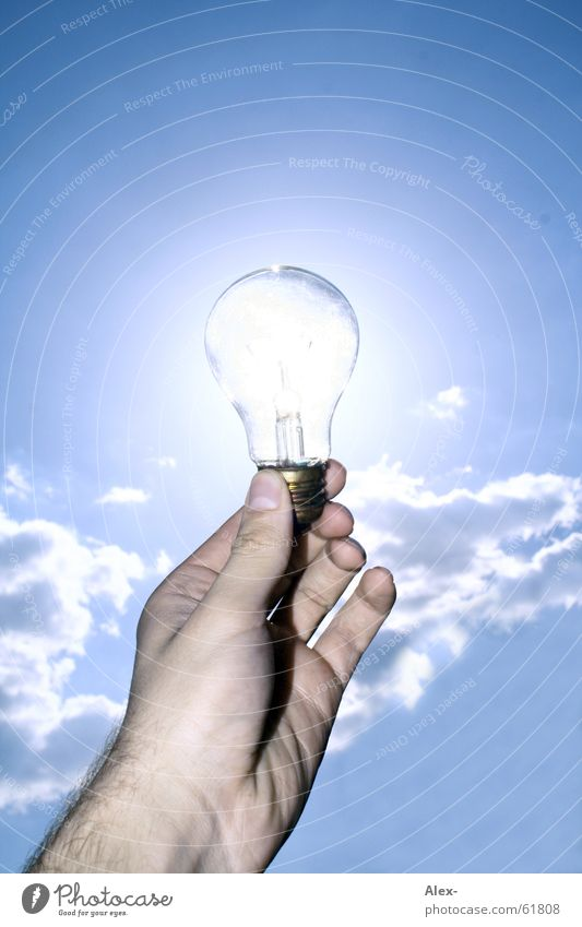 Nature Hand Sky Sun Summer Clouds Yellow Lamp Warmth Power Energy industry Electricity Future Physics Hot Solar Power