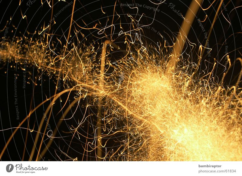 Gold New Year's Eve Firecracker Chaos Tails Muddled Explosion Spark Spray Blow up Rocket flare