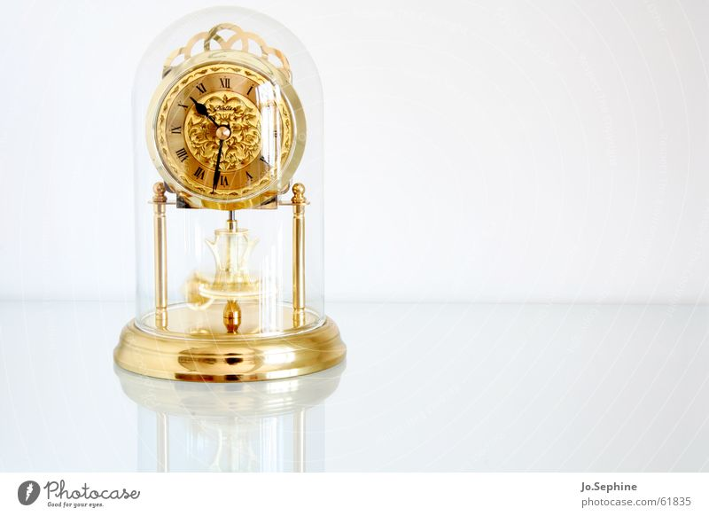 just after half past three Luxury Clock Glass Metal Gold Past Transience Time Future Clock face Noble Haste Agitated Reflection White Neutral Background