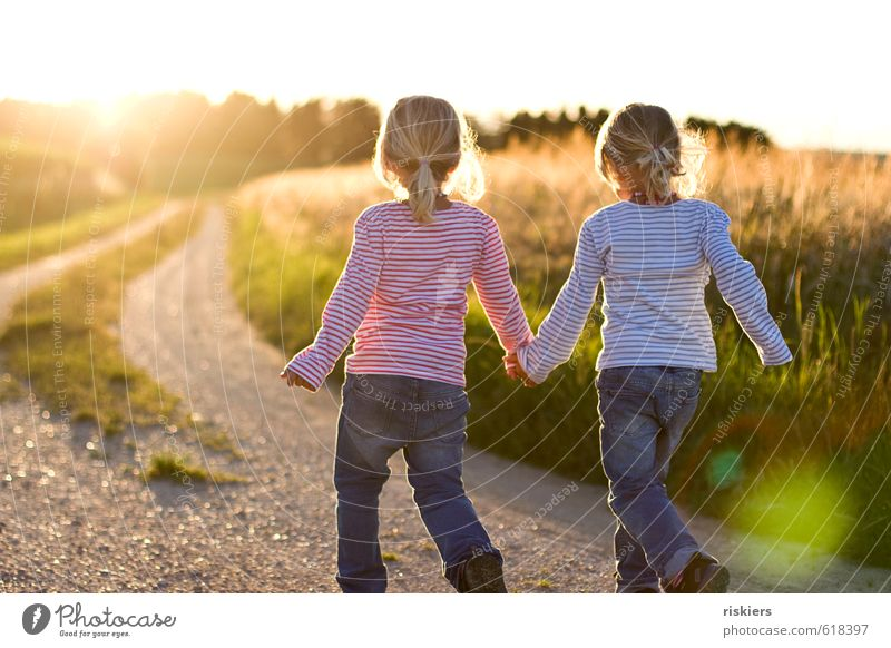 back to summer Feminine Child Girl Brothers and sisters Infancy 2 Human being 3 - 8 years Environment Nature Landscape Summer Beautiful weather Field Discover