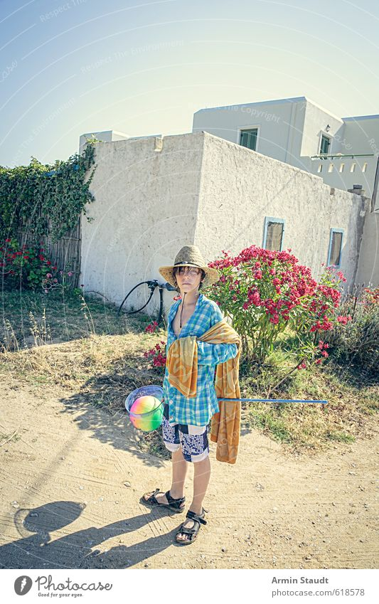 Equipped for the beach Lifestyle Playing Vacation & Travel Summer Ball Human being Masculine Youth (Young adults) 1 13 - 18 years Child Greece Village