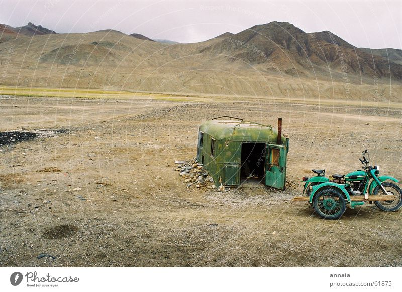 Border posts in Tajikistan Motorcycle Tent Calm Loneliness Badlands Kyrgyzstan House (Residential Structure) Desert Mountain Living or residing Soviet Union