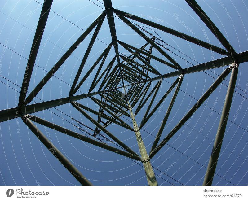 Sky Blue Line Electricity Cable Electricity pylon Iron