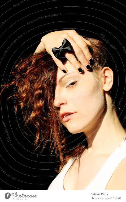 Human being Woman Youth (Young adults) Hand Young woman 18 - 30 years Dark Face Adults Feminine Esthetic Observe Uniqueness To hold on Curl Ring