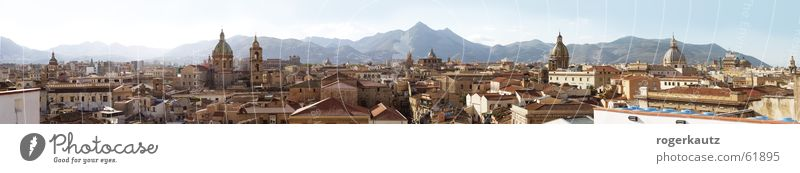 Above the roofs of Palermo Roof Sicily Town Panorama (View) Skyline Large Panorama (Format)