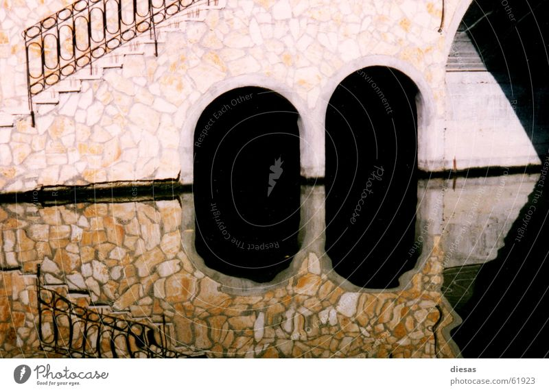 3corner Reflection Geometry Sewer River Bridge Water Stairs Arch Shadow Coast Corfu Architecture