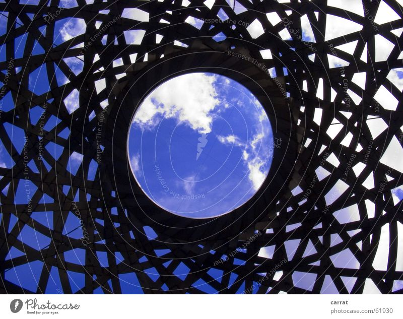 Sky White Blue Black Metal Circle Network Munich Sphere Bavaria Connection Globe Illustration Hollow Sculpture Graphic