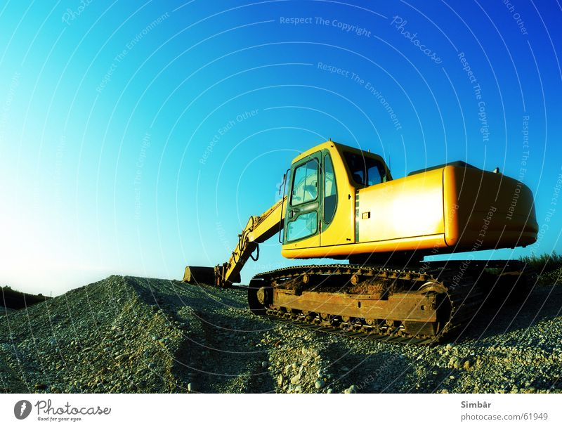 Sky Blue Work and employment Stone Power Metal Rock Steel Machinery Gravel Excavator Bulldozer