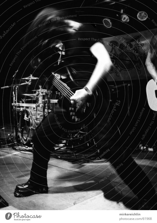 Bang your head! Music Strong Heavy Clear Footwear Fear Shake Blur Drum set Musical instrument string guitar Rock music Black & white photo bigway shoes Arm