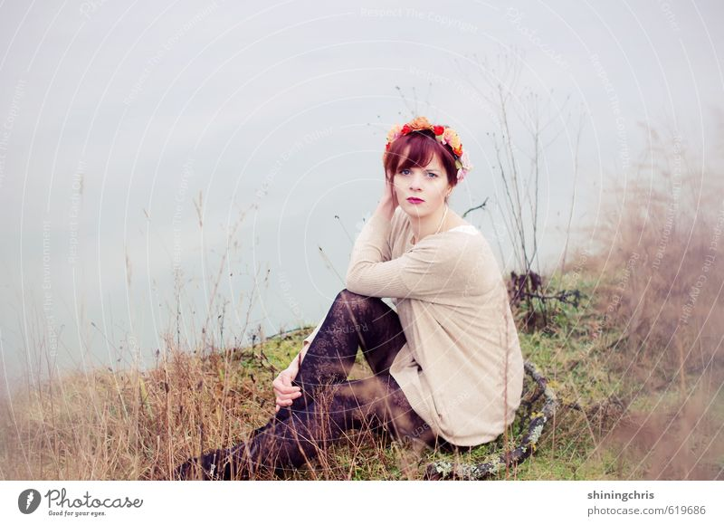lakeside Feminine Young woman Youth (Young adults) Woman Adults 1 Human being 18 - 30 years Nature Landscape Earth Water Winter Grass Lakeside River bank Tights